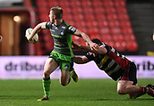 23rd March 2018, Ashton Gate, Bristol, England; RFU Rugby Championship, Bristol versus Yorkshire Carnegie; Callum Irvine of Yorkshire Carnegie offloads the ball while being tackled