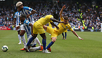 Chelsea's Jorginho (right) battles with Huddersfield Town's Terence Kongolo <br /> <br /> Photographer Stephen White/CameraSport<br /> <br /> The Premier League - Huddersfield Town v Chelsea - Saturday August 11th 2018 - The John Smith&rsquo;s Stadium<br />  - Huddersfield<br /> <br /> World Copyright &copy; 2018 CameraSport. All rights reserved. 43 Linden Ave. Countesthorpe. Leicester. England. LE8 5PG - Tel: +44 (0) 116 277 4147 - admin@camerasport.com - www.camerasport.com
