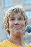 Diana Nyad, four years after her record breaking swim of 110 miles from Cuba to Florida, leading over 100 people 9.10.17  walking 132 miles from Copley Square Boston to Cape Elizabeth in Portland Maine walking about 20 miles a day for 7 days in an EverWalk event.