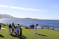 NFL Arizona Cardinals wide receiver Larry Fitzgerald tees off the par3 the 7th tee during Sunday's Final Round of the 2018 AT&amp;T Pebble Beach Pro-Am, held on Pebble Beach Golf Course, Monterey,  California, USA. 11th February 2018.<br /> Picture: Eoin Clarke | Golffile<br /> <br /> <br /> All photos usage must carry mandatory copyright credit (&copy; Golffile | Eoin Clarke)