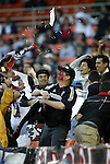 17 October 2004: DC United fans celebrate in the 23rd minute after Christian Gomez's goal had tied the game 1-1. DC United defeated the MetroStars 3-2 at RFK Stadium in Washington, DC during a regular season Major League Soccer game..