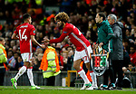 Jesse Lingard of Manchester United is replaced by Marouane Fellaini during the UEFA Europa League Quarter Final 2nd Leg match at Old Trafford, Manchester. Picture date: April 20th, 2017. Pic credit should read: Matt McNulty/Sportimage