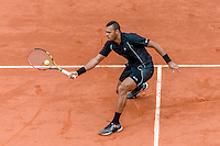 May 31, 2015: Jo-Wilfried Tsonga of France in action in a 4th round match against Tomas Berdych of Czech Republic on day eight of the 2015 French Open tennis tournament at Roland Garros in Paris, France. Tsonga won 63 62 67 63. Sydney Low/AsteriskImages