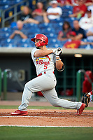 Palm Beach Cardinals first baseman Chris Chinea (5) follows through on a swing during a game against the Clearwater Threshers on April 14, 2017 at Spectrum Field in Clearwater, Florida.  Clearwater defeated Palm Beach 6-2.  (Mike Janes/Four Seam Images)