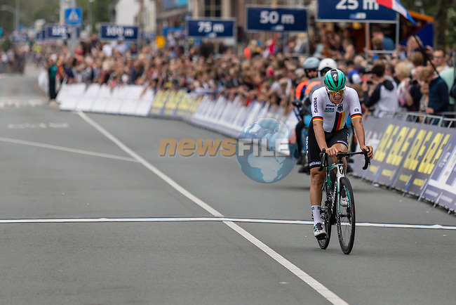 Pascal Ackermann (GER) crosses the finish line in 3rd place at the end of the Elite Men's Road Race during the 2019 UEC European Road Championships, Alkmaar, The Netherlands, 11 August 2019.<br /> <br /> Photo by Thomas van Bracht / PelotonPhotos.com | All photos usage must carry mandatory copyright credit (Peloton Photos | Thomas van Bracht)
