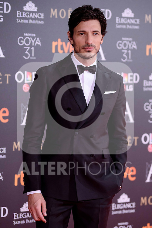 Andres Velencoso attends to the Red Carpet of the Goya Awards 2017 at Madrid Marriott Auditorium Hotel in Madrid, Spain. February 04, 2017. (ALTERPHOTOS/BorjaB.Hojas)