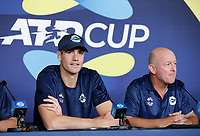 2nd January 2020; RAC Arena , Perth, Western Australia, Australia; ATP Cup Team Press conferences, Spain; John Isner and David Macpherson at the USA team press conference - Editorial Use