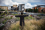 © Joel Goodman - 07973 332324 . 27 July 2013 . Hulme Community Garden Centre , Old Birley Street , Hulme , Manchester M15 , UK . Scarecrow in the garden looking out on to the street . Hulme is Where the Art Is festival . Photo credit : Joel Goodman