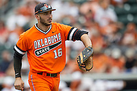 Oklahoma State Cowboys first baseman Tanner Krietemeier #16 in action during the NCAA baseball game against the Texas Longhorns on April 26, 2014 at UFCU Disch–Falk Field in Austin, Texas. The Cowboys defeated the Longhorns 2-1. (Andrew Woolley/Four Seam Images)