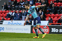 Matthew Bloomfield of Wycombe Wanderers celebrates scoring his team's second goal of the game to make it 2-2 during the Sky Bet League 2 match between Doncaster Rovers and Wycombe Wanderers at the Keepmoat Stadium, Doncaster, England on 29 October 2016. Photo by David Horn.