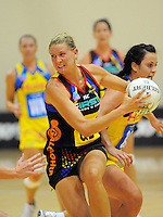 Magic goal defence Casey Williams looks for support. ANZ Netball Championship - Central Pulse v Bay Of Plenty-Waikato Magic at TSB Bank Arena, Wellington, New Zealand on Monday, 28 February 2011. Photo: Dave Lintott / lintottphoto.co.nz