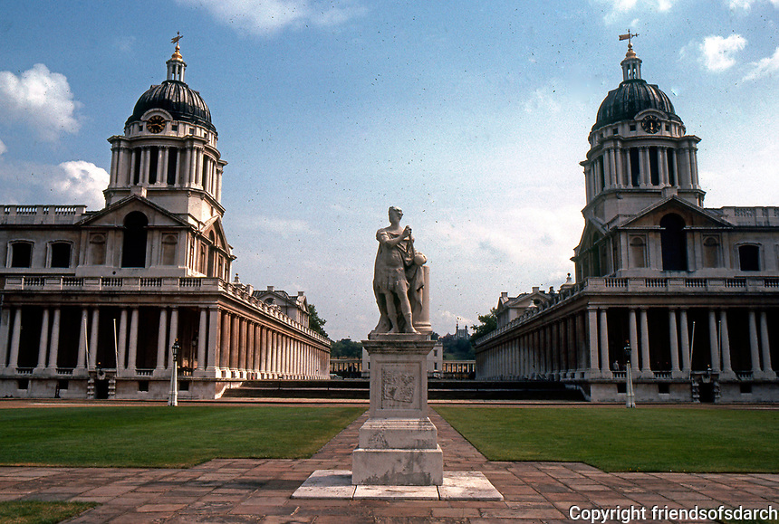 Greenwich: Royal Naval Hospital. View from Queen Mary's Block, left, and King William's Block, right.  (Photo '79)