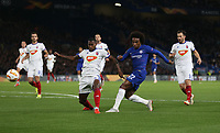 Chelsea's Willian with a first half shot<br /> <br /> Photographer Rob Newell/CameraSport<br /> <br /> UEFA Europa League - Group L - Chelsea v MOL Vidi - Thursday 4th October 2018 - Stamford Bridge - London<br />  <br /> World Copyright © 2018 CameraSport. All rights reserved. 43 Linden Ave. Countesthorpe. Leicester. England. LE8 5PG - Tel: +44 (0) 116 277 4147 - admin@camerasport.com - www.camerasport.com