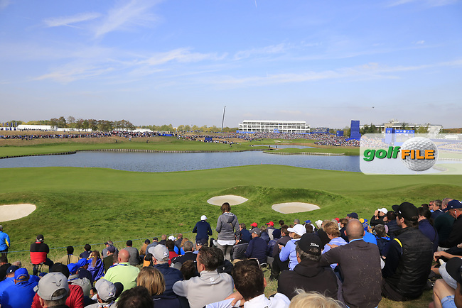 Packed 18th hole during Friday's Fourball Matches at the 2018 Ryder Cup, Le Golf National, Iles-de-France, France. 28/09/2018.<br /> Picture Eoin Clarke / Golffile.ie<br /> <br /> All photo usage must carry mandatory copyright credit (© Golffile | Eoin Clarke)