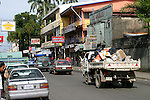 Puerto Limon street scene near the docks.  Limon is considered the most important Costa Rican port city on the Caribbean side of this Central American country.