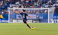 FRISCO, TX - MARCH 11: Carli Lloyd #10  of the United States takes a shot during a game between Japan and USWNT at Toyota Stadium on March 11, 2020 in Frisco, Texas.