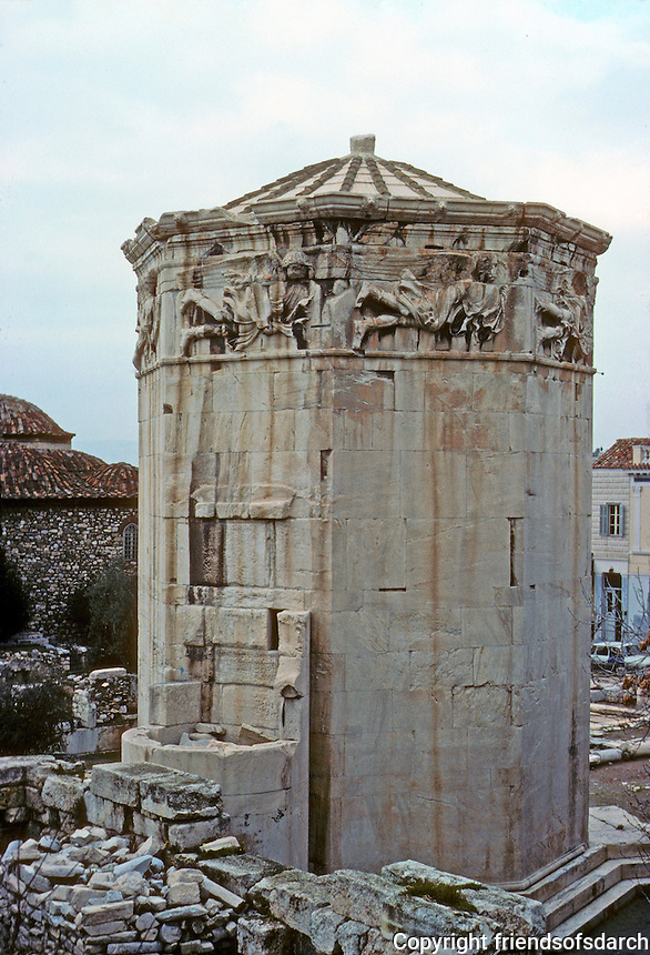 Athens: Tower of the Winds.  In the Roman Agora--a hydraulic clock with sun dial and weather vane. Photo '82.