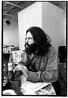 Jim Morrison of The Doors photographed at the Garden District restaurant on La Cienega in West Hollywood, CA in 1970. This was one of Jim's last American interviews and was done for the Los Angeles Free Press.  ** HIGHER RATES APPLY ** CALL TO NEGOTIATE RATE **<br /> © RTKent / MediaPunch
