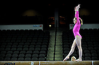 02/20/09 - Photo by John Cheng for USA Gymnastics.  US gymnast Kamerin Moore performs on balance beam in a meet against Japan before the Tyson American Cup at Sears Centre Arena in Chicago.