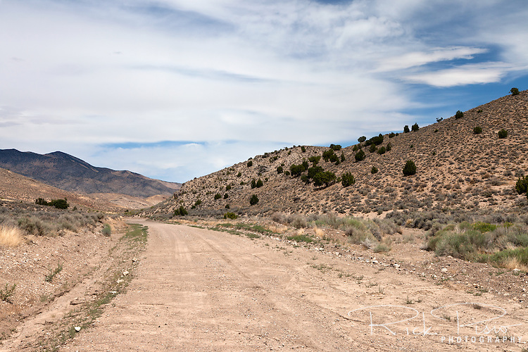 Lincoln Highway roadbed near Gold Hill, Utah. The route of the Lincoln Highway's Goodyear Cutoff passed through Gold Hill. When the Lincoln Highway was rerouted north through Wendover Gold Hill was bypassed.