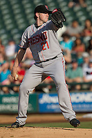 Fresno Grizzlies pitcher Eric Hacker #21 delivers during the Pacific Coast League baseball game against the Round Rock Express on May 19, 2012 at The Dell Diamond in Round Rock, Texas. The Grizzlies defeated the Express 10-4. (Andrew Woolley/Four Seam Images)