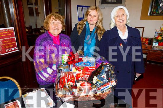 Alice Lawlor, Marketa Valisova and Myra Blackwood attending the Mistletoe and Wine concert in St Johns Ashe St on Friday.