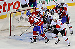 11 November 2008:  Montreal Canadiens' left wing forward Andrei Kostitsyn from Belarusse appears to score a goal in the first period against the Ottawa Senators at the Bell Centre in Montreal, Quebec, Canada. The goal as dissallowed. The Canadiens, celebrating their 100th season, defeated the visiting Senators 4-0. ***Editorial Sales Only***..Mandatory Photo Credit: Ed Wolfstein Photo *** Editorial Sales through Icon Sports Media *** www.iconsportsmedia.com