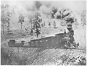 RGS 2-8-0 #3 with four-car freight train nearing Millwood.<br /> RGS  Millwood, CO  post 1903