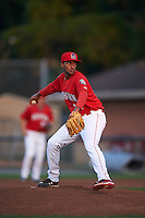 Auburn Doubledays pitcher Maximo Valerio (14) delivers a pitch during a game against the Mahoning Valley Scrappers on September 4, 2015 at Falcon Park in Auburn, New York.  Auburn defeated Mahoning Valley 5-1.  (Mike Janes/Four Seam Images)
