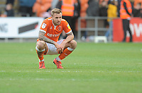 Blackpool's Nick Anderton looks dejected at full time<br /> <br /> Photographer Kevin Barnes/CameraSport<br /> <br /> The EFL Sky Bet League One - Blackpool v Gillingham - Saturday 4th May 2019 - Bloomfield Road - Blackpool<br /> <br /> World Copyright © 2019 CameraSport. All rights reserved. 43 Linden Ave. Countesthorpe. Leicester. England. LE8 5PG - Tel: +44 (0) 116 277 4147 - admin@camerasport.com - www.camerasport.com