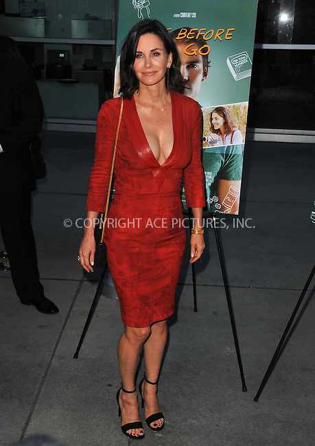 WWW.ACEPIXS.COM<br /> <br /> April 20 2015, LA<br /> <br /> Courteney Cox arriving at the Los Angeles special screening of 'Just Before I Go' at the ArcLight Hollywood on April 20, 2015 in Hollywood, California.<br /> <br /> By Line: Peter West/ACE Pictures<br /> <br /> <br /> ACE Pictures, Inc.<br /> tel: 646 769 0430<br /> Email: info@acepixs.com<br /> www.acepixs.com