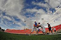 Jun. 13, 2009; Las Vegas, NV, USA; Players do training drills during the United Football League workout at Sam Boyd Stadium. Mandatory Credit: Mark J. Rebilas-