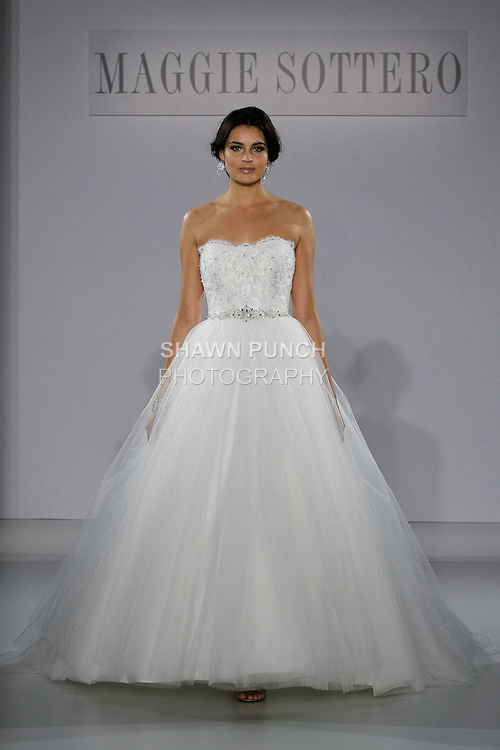 Model walks runway in a Shaylee wedding dress from the Sottero and Midgley Spring 2013 collection, at The Couture Show, during New York Bridal Fashion Week, on October 14, 2012.