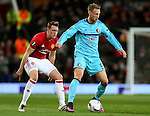 Nicolai Jorgensen of Feyenoord and Phil Jones of Manchester United during the UEFA Europa League match at Old Trafford, Manchester. Picture date: November 24th 2016. Pic Matt McNulty/Sportimage