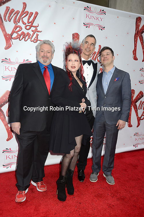"""Harvey Fierstein, Cyndi Lauper, Jerry Mitchell and Stephen Oremus arrive at the """"Kinky Boots"""" Broadway Opening on April 4, 2013 at The Al Hirschfeld Theatre in New York City. Harvey Fierstein wrote is the Book Writer and Cnydi Lauper is the Composer."""