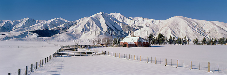 Winter at Castle Hill Station. Torlesse Mountain Range. Canterbury. New Zealand.