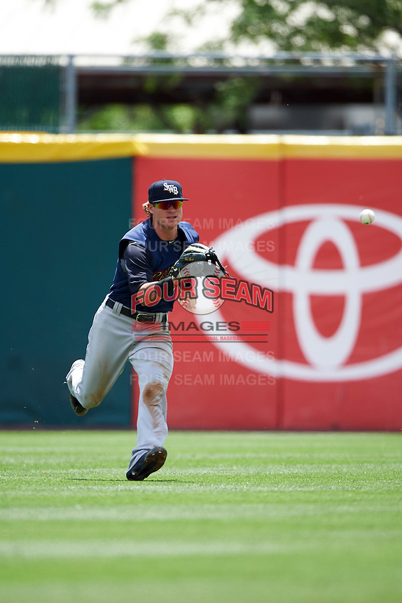 Scranton/Wilkes-Barre RailRiders center fielder Ben Gamel (6) fields a base hit during a game against the Buffalo Bisons on July 2, 2016 at Coca-Cola Field in Buffalo, New York.  Scranton defeated Buffalo 5-1.  (Mike Janes/Four Seam Images)
