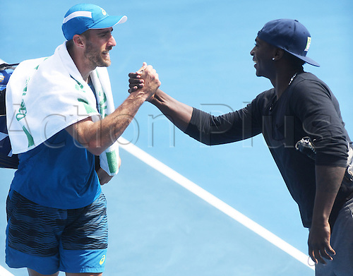 12.01.2017. ASB Tennis Centre, Auckland, New Zealand. ASB Classic Tennis, Day 13. USA's Steve Johnson shakes hands with Yankees baseball player Didi Gregorius after his quarter final singles win at the ASB Classic.