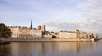 General View of Ile de la Cité and Notre Dame de Paris, 12th to 14th century, initiated by the bishop Maurice de Sully, Paris, France Picture by Manuel Cohen
