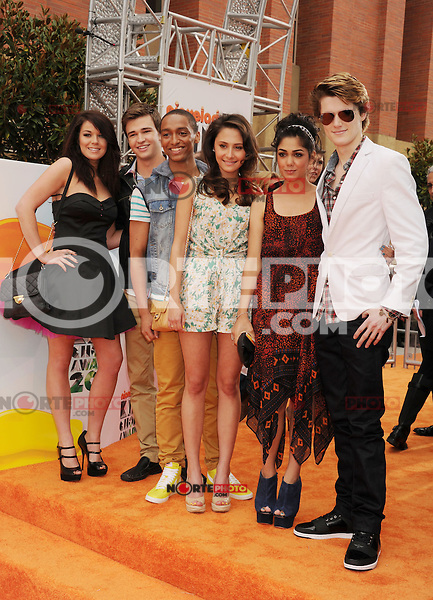 LOS ANGELES, CA - MARCH 31: Jade Ramsey, Burkely, Alex Sawyer, Klariza Clayton, Tasie Dhanraj and Eugene Simon arrive at the 2012 Nickelodeon Kids' Choice Awards at Galen Center on March 31, 2012 in Los Angeles, California.