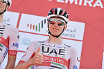 Tadej Pogacar (SLO) UAE Team Emirates at sign on before Stage 3 The Emirates Stage of the UAE Tour 2020 running 184km from Al Qudra Cycle Track to Jebel Hafeet, Dubai. 25th February 2020.<br /> Picture: LaPresse/Massimo Paolone   Cyclefile<br /> <br /> All photos usage must carry mandatory copyright credit (© Cyclefile   LaPresse/Massimo Paolone)