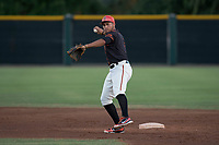 AZL Giants Black second baseman Jose Rivero (2) prepares to make a throw to first base during an Arizona League game against the AZL Angels at the San Francisco Giants Training Complex on July 1, 2018 in Scottsdale, Arizona. The AZL Giants Black defeated the AZL Angels by a score of 4-2. (Zachary Lucy/Four Seam Images)