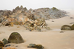 Boulders and Rock Formations on a Foggy Beach along the Rocky Coast of Maine