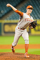Texas Longhorns relief pitcher John Curtiss #43 in action against the Tennessee Volunteers at Minute Maid Park on March 3, 2012 in Houston, Texas.  The Volunteers defeated the Longhorns 5-4.  (Brian Westerholt/Four Seam Images)