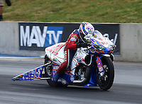 Jul. 18, 2014; Morrison, CO, USA; NHRA pro stock motorcycle rider Hector Arana Sr during qualifying for the Mile High Nationals at Bandimere Speedway. Mandatory Credit: Mark J. Rebilas-