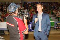 EQUESTRIANLIVE: Nik Eliadis does a live cross prior to the Speed Jumping Special: 2016 NZL-Bates NZ Dressage Championships (Saturday 6 February) CREDIT: Libby Law COPYRIGHT: LIBBY LAW PHOTOGRAPHY