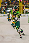 24 November 2013: University of Vermont Catamount Forward Mario Puskarich, a Freshman from Fort Walton Beach, FL, in second period action against the University of Massachusetts Minutemen at Gutterson Fieldhouse in Burlington, Vermont. The Cats wore special camouflage jerseys to celebrate Military Appreciation Day. The game-worn jerseys were auctioned off with proceeds benefiting the Vermont Veterans Fund (VVF). The Catamounts shut out the Minutemen 2-0 to sweep the 2-game home-and-away weekend Hockey East Series. Mandatory Credit: Ed Wolfstein Photo *** RAW (NEF) Image File Available ***