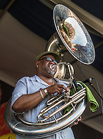 Shamarr Allen and the Underdawgs perform at the 2014 Jazz and Heritage Festival in New Orleans, LA.