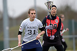 GER - Mainz, Germany, March 20: During the 1. Bundesliga Damen lacrosse match between Mainz Musketeers (white) and SC Frankfurt 1880 (red) on March 20, 2016 at Sportgelaende Dalheimer Weg in Mainz, Germany. Final score 7-12 (HT 3-5). (Photo by Dirk Markgraf / www.265-images.com) *** Local caption *** Marlene Steyer #31 of Mainz Musketeers, Josephine Bauch #38 of SC Frankfurt 1880