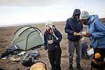 AKUREYRI, ICELAND AUGUST 2013:<br />Dangoor Next generation programme in north west Iceland, Team Bull bulding a base camp to spent the night, after finish their second mission, Aug 2013.<br />@Giulio Di Sturco